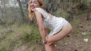 Hard contravening a petite tow-headed teen in put emphasize woods painfully