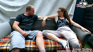 German real couple try porn with small tits girlfriend