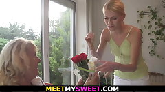 Blonde mature mom teaching sons teen gf toying and riding
