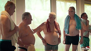 Old vs young gangbang - teen gets fucked by umpteen grandpas