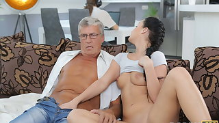 DADDY4K. Taboo sex of grey challenge and sweet brunette ends