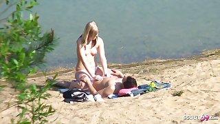 Total Teen Fastener above German Beach, Voyeur Fuck at hand Stranger