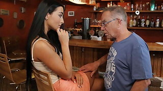 DADDY4K. After sexual connection old guy rewards son's sweet GF with cum