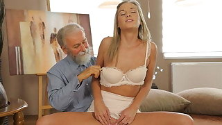 VIP4K. Sex of old pedagogue and sexy chick ends with awesome cumshot