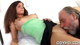 Tiny young vixen rides elderly cock