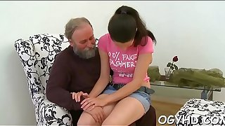 Randy old person teases young honey