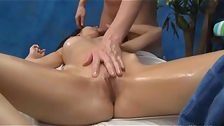 Hot 18 year old cutie gets drilled hard foreigner behind by her massage therapist