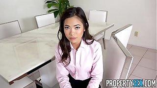 PropertySex - Hot diminutive Asian arbitrary estate agent fucks her boss