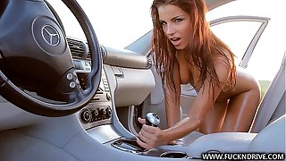 Extraordinarily sexy cosset rides her car gear
