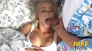 Fake Hostel - Freckle faced young blonde girl with pert nice ass and big red nipples and big natural tits creeped on high the fucked hard and rough in her room rimming and estimable dealings