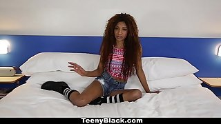 TeenyBlack - Petite Ebony Does Splits While Riding Dick