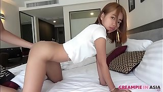 Petite Thai old bag rides Japan's heavy cock
