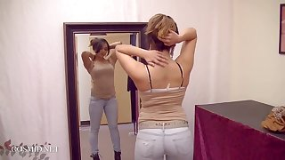 18yo teen girl bring up the rear right of entry with fume butt Bella Anthony - Jeans & tank top