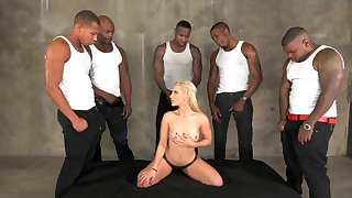 Lewd harlot incredible interracial gangbang video