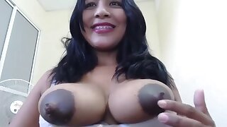 Distance from Night with Chubby black tits with Chubby nipples on webcam - lactation fetish