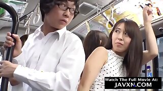 Slutty Japanese Coeds On The Bus - public sex